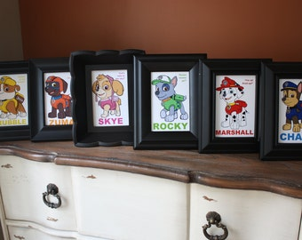 Paw Patrol Table / Character Cards (Chase, Marshall, Rocky, Rubble, Skye, Zuma, Everest and Ryder)