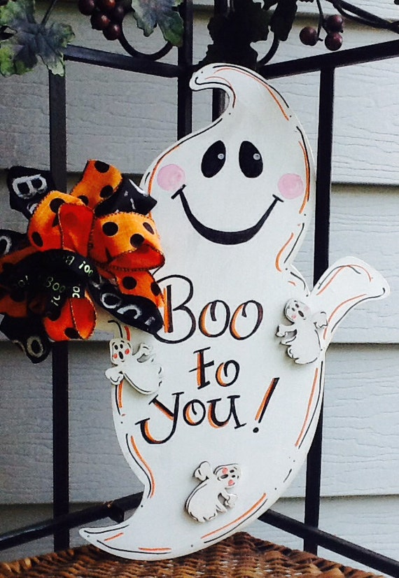 Decorating Ideas > Ghost Door Hanger Halloween Happy Haunting Trick To Treat ~ 160801_Halloween Door Tricks