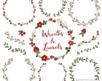 Premium Floral Wreaths & Laurels in Christmas - Christmas Wreath, Wreath Clipart, Christmas Clipart, Vector Wreaths, Vector Laurels
