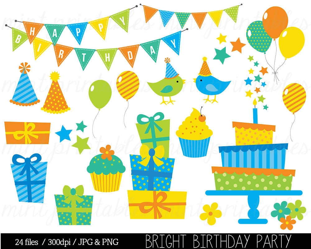 Boy Birthday Party Clipart Geometric Stripes Scrapbooking Party