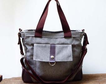 Gray Canvas Messenger Bags/Shoulder bag/Diaper bag/Crossbody bag/Totes