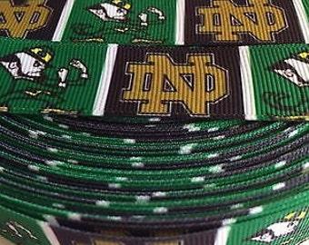 "Notre Dame 7/8"" Grosgrain Ribbon - 5 Yards NCAA"