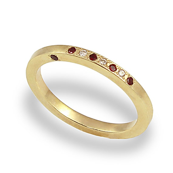 unique engagement ring and garnet ring 14k yellow