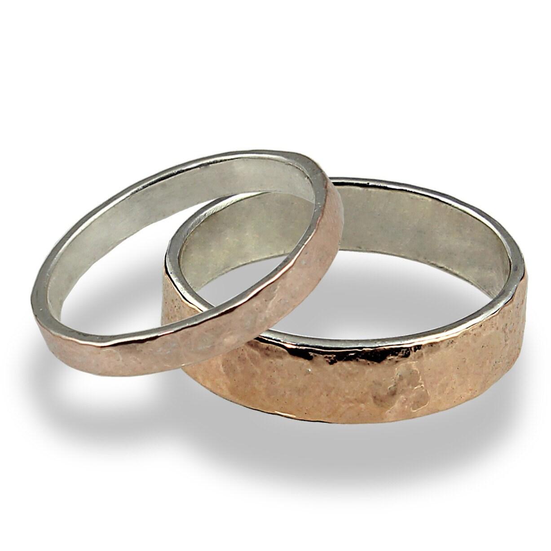 Wedding Ring Set Hammered Rose Gold