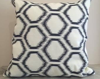 Charcoal Hexagon Canvas Cushion Pillow Cover