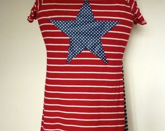 Ladies Upcycled Boho Chic Fashion Tunic Top Tee Shirt Stretch 'Star with Stripes' Small / Medium Size 12/14