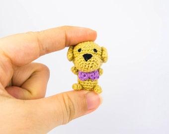 Mini Amigurumi Dog with Brooch Option -- Mini Crochet Animal for dollhouse or home decor or accessory