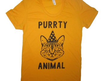 womens purrty animal t shirt cute cats cat kitten meow party funny cute tee top graphic new girlfriend wife present birthday gift awesome