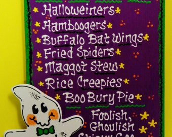 GHOST HALLOWEEN MENU Sign Plaque Wall Decorative Hanger Decor Holiday