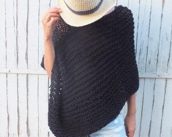 Black Poncho Handknit wool poncho women poncho loose knit poncho short poncho Boho inspired Asymetrical