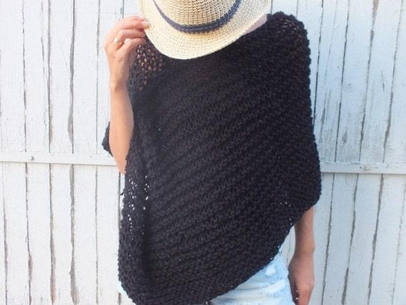 handknit poncho noir laine poncho femme poncho poncho tricot. Black Bedroom Furniture Sets. Home Design Ideas