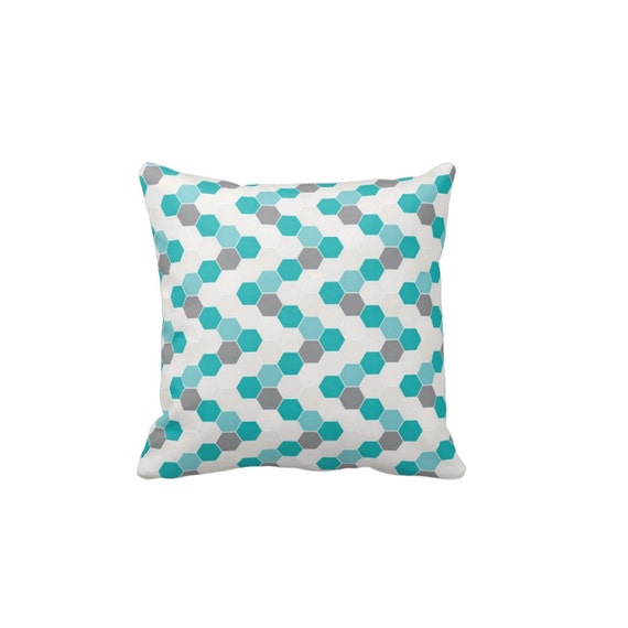 Honeycomb Pillow Decorative Throw Pillows Teal By Folkandfunky