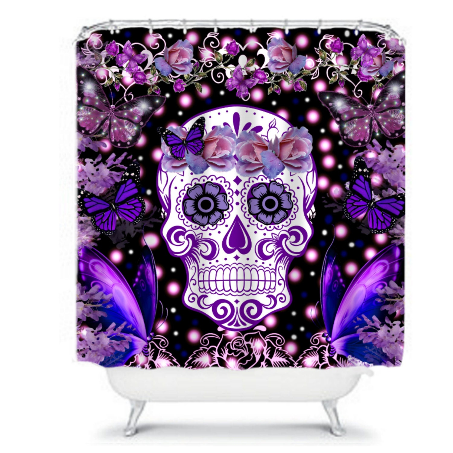 shower curtain sugar skull butterflies flowers roses purples. Black Bedroom Furniture Sets. Home Design Ideas