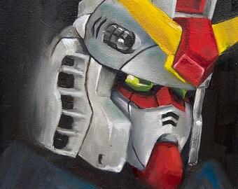 Gundam Painting. Gundam Helmet. Mini Art Print. Gifts for Geeks. Gundam Art. Robot Art.  Robot Head. Mini Gundam Print. Gundam Portrait.
