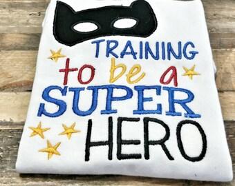 Boys Superhero Shirt - Custom Superhero Shirt - Superhero in Training - Boys Superman Shirt - Superhero Embroidery Shirt