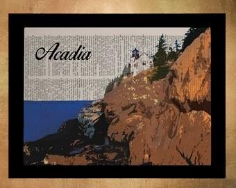 Acadia Art Dictionary Art Print Ocean Acadia Wall Art Maine Decor Maine Art National Park Lighthouse da931