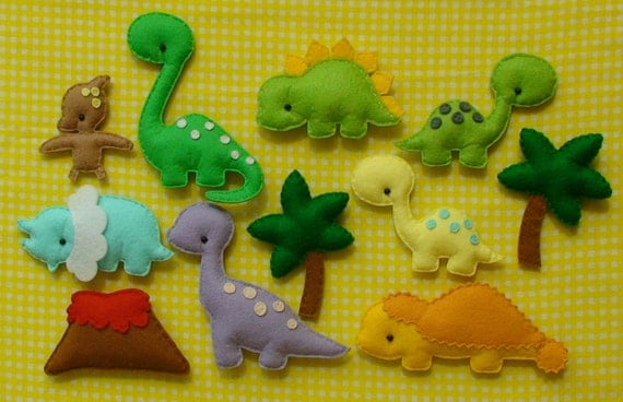 Magnet Dinosaurs collection, Dinosaurs Collection, Dinosaurs felt Magnets, Miniature Felt Dinosaur, Dino, Dinosaur Magnets for Child