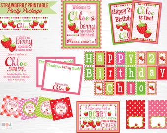 Strawberry Birthday Party Printable Package YOU Print Berry Party