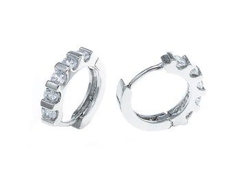 925 Sterling Silver CZ channel-set sparkling petite huggie earrings