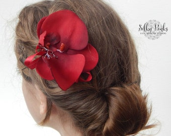 Wedding Flower Hair Accessory Deep Red Orchid Hair Clip