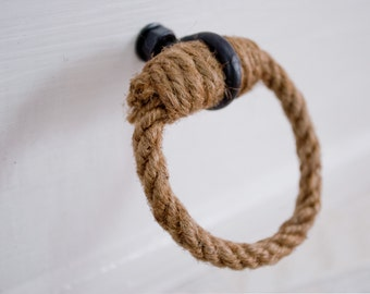 Wrought Iron & Jute Loop Drawer Pulls/Knob - Simple, Rustic, Shabby Chic