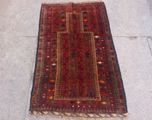 4.6 x 2.7 Feet Balochi Prayer rug Old Hand Knotted Prayer Rug, Home decoration, Carpet, Article J073
