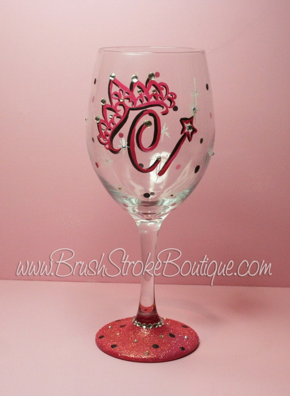 Hand Painted Wine Glass Tiara Initials Personalized And