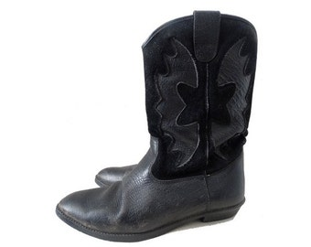 80s blk leather Cowboy BOOTS -size eu38 - uk 5- us7