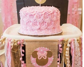 Pink and Gold MINNIE MOUSE Birthday High Chair Highchair Banner Party Vintage Photo Prop Backdrop Cake Smash Lace Burlap One First Fabric