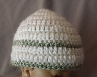Crocheted Baby Beanie in White and Green