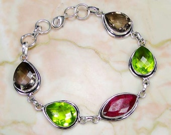 Bracelet 925 Sterling silver ruby, smoky quartz,