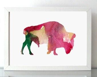 Bison Watercolor Painting  - Wall Art Print - Pink green - home art - Animal paining  Bison illustration - American Bison Art- Nursery Decor