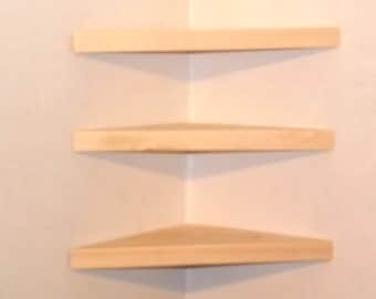 Set of 3 18 Inch Floating Corner Shelves Choose a Stain Handmade in the USA