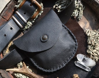 Hip pouch, leather hip pouch, belt pouch, leather belt pouch, black leather belt pouch, black leather hip pouch, small hip pouch, Unicorn