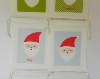 Santa Favor Bags - Santa Claus Favor Bags, Santa Party Favor Bags, Santa Bags, Santa Gift Bags, Santa Party Bags, Santa Stocking Favor Bags