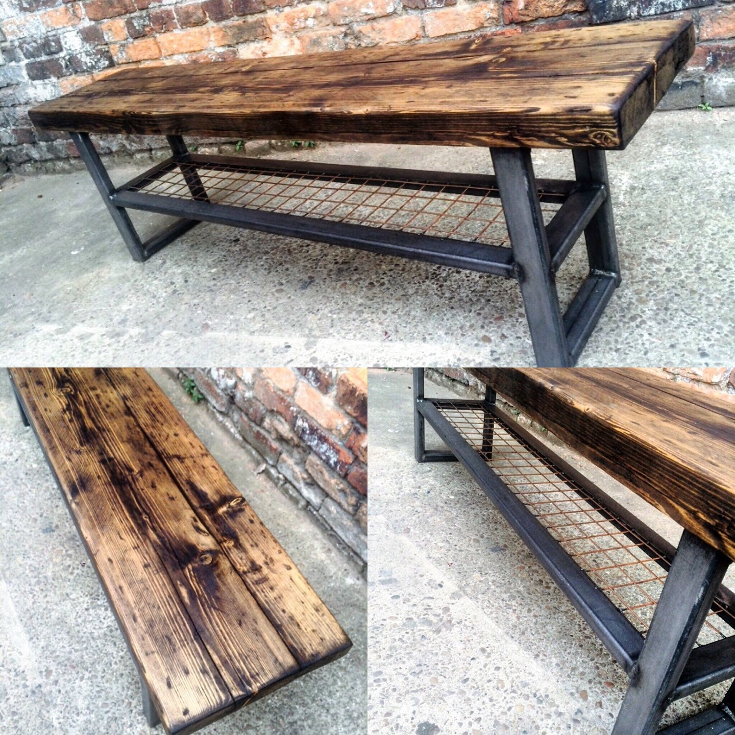 Industrial chic reclaimed bench with wire shelf coffee table for Table haute industrielle
