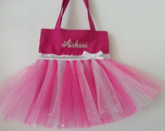 Personalized Flower Girl Tutu Tote Bag, Hot Pink or your choice color, Silver Glitter Tulle,Recital Gift, Wedding Tote 1
