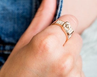 Rose Gold  Tone Buckle Ring