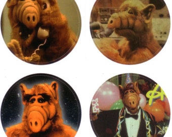 Eight glossy ALF stickers - Alien Life Form vintage television retro 1980s - great for mail art, scrapbooking, gift packaging
