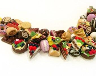 Sweet cha cha charm bracelet - Polymer clay jewelry - Nice gift - Сake bracelet - Handmade jewelry