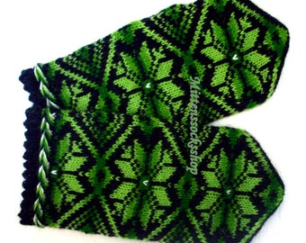 Green Black Knitted Mittens Wool Mittens Wool Gloves Pattern Mittens Colorful Latvian Mittens Winter Gloves Warm Mittens Women's Mittens