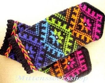 Rainbow wool mittens Hand knitted wool gloves Warm mittens Winter gloves Patterned mittens Scandinavian ornament Knitted mittens Gift idea