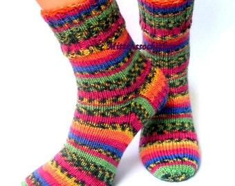Rainbow Hand Knitted Socks Women's Socks Stylish Socks Girl's Socks Colorful Knitted Socks Men's Socks Winter Socks Elegant Socks Gift idea