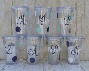 Tumbler Cups - Personalized with Initial & Name Polka Dot Design