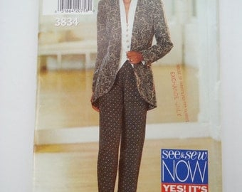 Womens Tuxedo jacket / 90s Jacket / tapered legs pants / 1994 vintage sewing pattern, Sizes 18 20 22, Bust 40 42 44, Butterick See Sew 3834