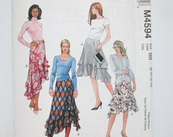 McCall's 4594 ~ Flowy Flared Skirt with Contour Waist, Tiered Layers and Shaped Hem SIZE 8-10-12-14 UNCUT Sewing Pattern