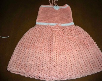Hand crocheted peach dress,  18 months
