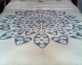 Vintage hand made blue embroidered queen quilt