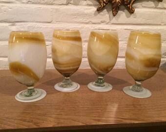 Vintage Set of Four Marbleized Goblets