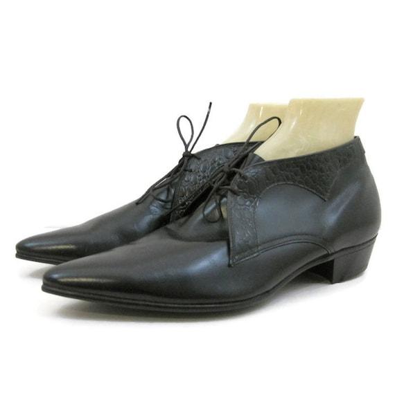 vintage mens shoes 60s pointy winklepicker booties black
